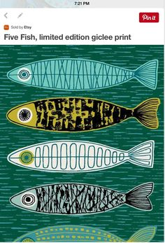 This Five Fish limited edition giclee print is just one of the custom, handmade pieces you'll find in our prints shops. Art And Illustration, Silkscreen, Fish Design, Design Design, Fish Art, Art Plastique, Art Lessons, Printmaking, Pisces