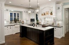 off white kitchen cabinets, wood floors, wood table - Google Search
