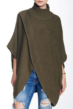 Free People All Wrapped Up Poncho Medium/Large Martini Green NWT #FreePeople #Poncho