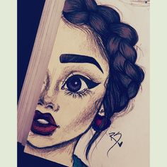 Picture by Maddi Dark Art Drawings, Girly Drawings, Pencil Art Drawings, Girl Drawing Sketches, Art Drawings Sketches Simple, Drawing Women, Christina Lorre Drawings, Drawings Of Friends, Indian Art Paintings