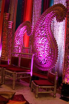 Indian Wedding Stage! LOVE the huge magenta paisley...how can you go wrong with this?