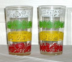Vintage Striped Juice Drinking Glasses/1950's