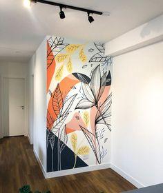Hallway Designs, Wall Art Designs, Wall Design, Diy Wall Painting, Mirror Painting, Doodle Wall, Bohemian Bedroom Decor, Wall Drawing, Mural Wall Art