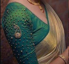 New Saree Blouse Designs, Simple Blouse Designs, Stylish Blouse Design, Bridal Blouse Designs, Indian Blouse Designs, Sari Blouse, Design Of Blouse, Brocade Blouse Designs, Blouse Designs High Neck