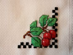 Fresh Cherries Cross Stitched Basket Liner by TheGardenStitcher