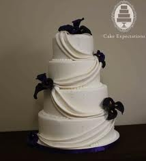 Calla Lilly cake idea 2...ribbons would be a color...maybe the same plum as flower, or green
