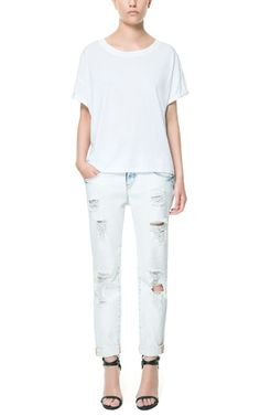 Image 1 of CROPPED BAGGY TROUSERS WITH RIPS from Zara