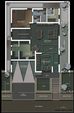 floor plans of Independent Villa Hotel Design Architecture, Detail Architecture, Architecture Plan, Family House Plans, New House Plans, House Floor Plans, 30x40 House Plans, Small Villa, Indian House Plans