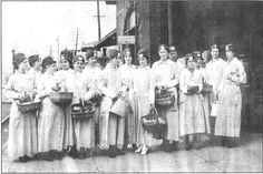 "This photo was taken during World War I at the Big Four Depot, 14th and Dillon Streets in Anderson Indiana. This group of women were Red Cross workers who would meet the 'Troop Trains"" and distribute baked goods and apples."