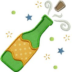Champagne Cork Applique by HappyApplique.com