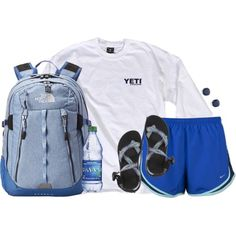A fashion look from September 2015 featuring NIKE activewear shorts, Chaco sandals и The North Face backpacks. Browse and shop related looks. Adrette Outfits, Lazy Day Outfits, Cute Outfits For School, Sporty Outfits, Athletic Outfits, College Outfits, Summer Outfits, Fashion Outfits, Preppy Style