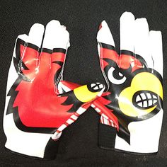 University of Louisville Cardinals Authentic Receiving Gloves New Adult Small | eBay