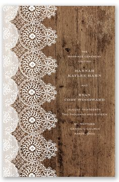 Barnwood and Lace Wedding Program by David's Bridal | Follow us and start pinning pretty paper options - from invitations and save the dates to programs and table numbers - for a chance to win $1,000 to InvitationsbyDavidsBridal.com. Enter here: http://sweeps.piqora.com/rsvpready