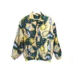 90's Sun, Moon and Stars Silk Bomber Jacket size - M ($28) ❤ liked on Polyvore featuring outerwear, jackets, tops, zip jacket, green flight jacket, light weight jacket, zipper bomber jacket and short jacket