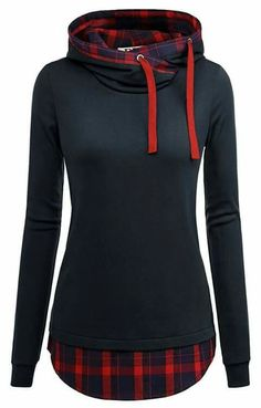 DJT Women's Funnel Neck Check Contrast Pullover Hoodie Top Large Navy Machine wash, Cold Funnel neck, long sleeve Check contrast hood and hemline Hood with interior drawcord Please refer to the size measurement below Cool Outfits, Casual Outfits, Fashion Outfits, Womens Fashion, Female Fashion, Sexy Outfits, Style Fashion, Plaid Hoodie, Plaid Tunic