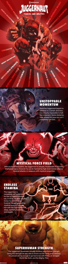 A breakdown of all the powers and abilities that make up the force that is Juggernaut! Marvel Facts, Marvel Dc Comics, Marvel Heroes, Marvel Comic Character, Comic Book Characters, Comic Books Art, Juggernaut Marvel, Wolverine Art, Man Thing Marvel