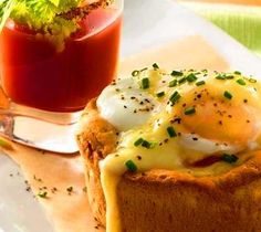 Eggs Benedict Biscuit Cups with Bloody Mary Shooters.
