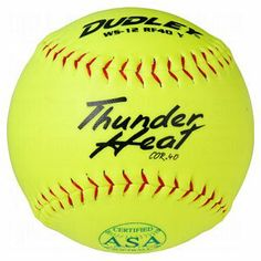 """Dudley ASA Thunder Heat 12"""" (.40) Slow Pitch Softball - Synthetic Cover - Dozen - http://www.closeoutball.com/softball-closeout-sale-discount-free-shipping/dudley-asa-thunder-heat-12-40-slow-pitch-softball-synthetic-cover-dozen/"""