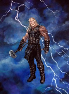 Thor was the son of Odin and Jord the earth giant. He is now the most famous Norse god thanks to the success of some blockbusters adapting Thor in Norse mythology. Odin Marvel, Thor Norse, Marvel Heroes, Rune Viking, Viking Warrior, Marvel Comic Character, Character Art, Symbole Viking, Thor Cosplay