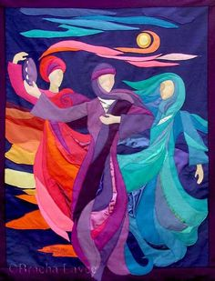 """And Miriam the prophetess, the sister of Aaron, took a timbrel in her hand; and all the women went out after her with timbrels and with dances."" ~ Exodus Image: ""Dancing Miriam"" quilt by Bracha Lavee ❤️ Jewish Crafts, Jewish Art, Religious Art, Worship Dance, Praise Dance, Arte Judaica, Inspiration Art, Prophetic Art, Biblical Art"