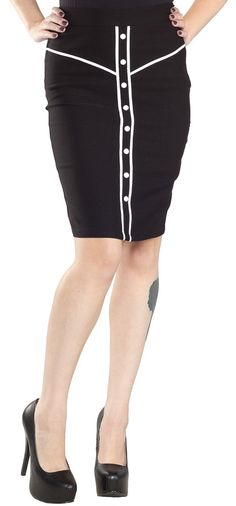 SOURPUSS HOOTENANNY SKIRT BLK Swing to your right, swing to your left.... there's a hootenanny goin' on tonight! The Sourpuss western-inspired Hootenanny Skirt with white contrast trim, buttons and backside zip is a must for any Rockabilly Betty's wardrobe. $41.00 #sourpuss #sourpussclothing #skirt #retro #western #rockabilly #pinup