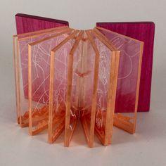 book binding collection. Bind-O-Rama 2014    The Book Arts Web  Purpleheart wood, copper leaf, waxed linen thread, cast acrylic  Alicia Bailey, Aurora, CO, USA.  http://www.philobiblon.com/bindorama14/index.html