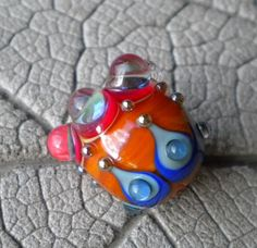 REGAL Focal Lampwork Beads by Cherie Sra R114 Encased Floral Flameworked Bead by CherieRanfranz on Etsy