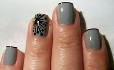 Gray nails with black design