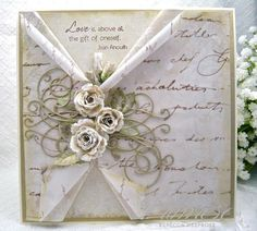 Paper Primrose ~ card about love, layers, distressing, die cutting, misting and curling.  Vintage, shabby chic card