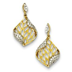 Sterling Silver Gold-plated CZ Post Dangle Earrings Jewelry Adviser Dangle Earrings. $45.90. Save 60% Off!