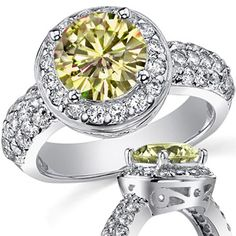 Canary Yellow Round Moissanite Pave Halo Engagement Ring [CYeng602] - $0.00 : MoissaniteCo.com, Fine Moissanite Rings and Moissanite Jewelry