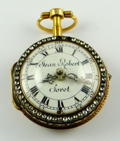 Jean Robert Soret (Geneva, active descended from a line of watchmakers), enameled gold fusee Antique Locket, Vintage Lockets, Vintage Jewelry, Old Pocket Watches, Pocket Watch Antique, Amazing Watches, Old Clocks, Grandfather Clock, Antique Watches