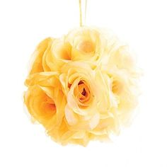 Koyal Rose Ball Wedding Flower Decoration 6Inch Pale Yellow * You can get more details by clicking on the image.