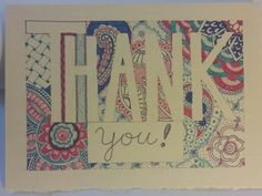 Bright colored Sharpie doodled thank you card.