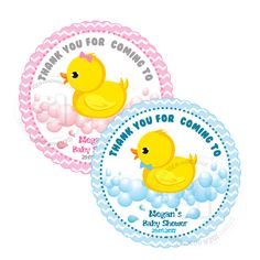 """Custom Duck Printable Baby Shower Tag- 2.5""""-Blue or Pink-White Chevron Scallop Tag-Personalized Baby Duck with Bow Tags-Digital file by StudioIdea on Etsy"""