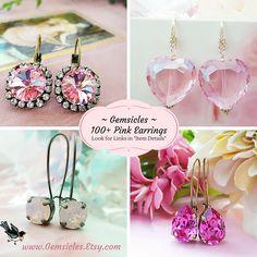 Pink Crystal Stud Earrings Swarovski Crystal Studs Pink
