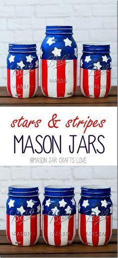 DIY Patriotic Mason Jars tutorial More