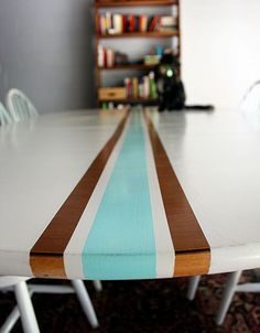 DIY Surf Stripe Dining Table- what a fun idea!
