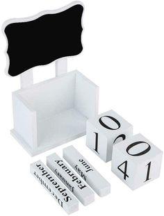 Block Calendar, Perpetual Calendar, Desk Calendars, Work Spaces, Wooden Blocks, New Room, Chalkboard, Bedrooms, Organization