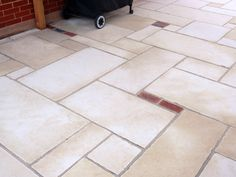 Chapter 5 of DIY garden renovation series continues with a covered limestone and brick paver patio. Brick Paver Patio, Diy Paver, Limestone Pavers, Landscape Elements, Beautiful Gardens, Tile Floor, Outdoor Living, Hairdos, Walkway