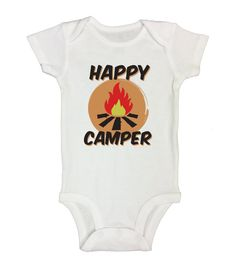 "Cute Kids Onesie "" Happy Camper "" - Funny Shirt Collection - Gift for Baby - Kids Hipster Shirts - Toddler and Long Sleeve Option - 112"