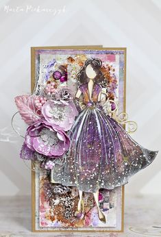 Marta piekarczyk s Gallery Julie Nutting Rita Prima Paper Dolls, Prima Doll Stamps, Paper Art, Paper Crafts, Canvas Crafts, Shabby Chic Cards, Dress Card, Beautiful Handmade Cards, Artist Trading Cards