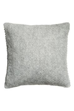 Light gray. Cushion cover with soft, moss-knit front section with wool content. Solid-color back in woven cotton fabric. Concealed zip.