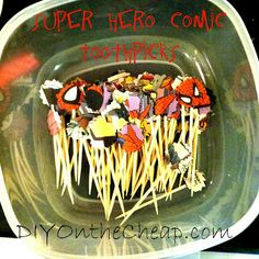 Super Hero Comic Toothpicks- make 'em and poke in sandwiches, cheese cubes, fruit, etc.