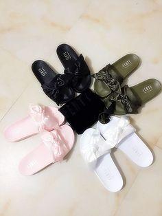 PUMA fenty rihanna silk slides sneakers spring (10-color) Bow Slide Sandals Shoes Full color