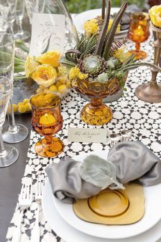 Mix & match color combinations. Yellows with grey. Vintage lace.