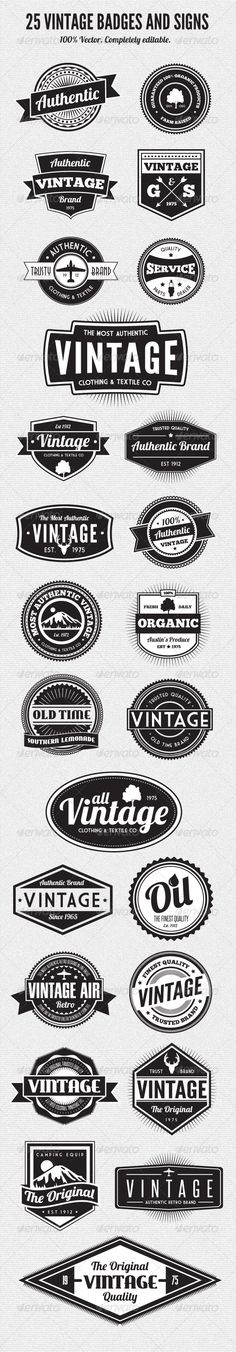 25 Premium Retro Style Vector Badges - Web Elements Vectors