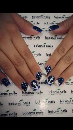 Beautiful nail art designs that are just too cute to resist. It's time to try out something new with your nail art. Nautical Nail Designs, Nail Art Designs, Nautical Nails, Fingernail Designs, Anchor Nail Designs, Cruise Nails, Vacation Nails, Spring Nail Art, Spring Nails