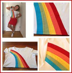 Dochter van 20 had een K3 outfit nodig voor een themafeest. Daarom een K3 shirt gemaakt door een regenboog op een wit shirt te naaien.