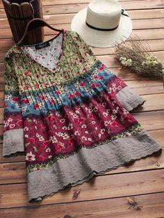 Vintage Floral Print Patchwork 3/4 Sleeve V-neck Blouses For Women